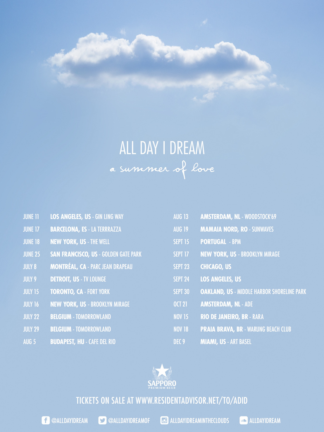All Day I Dream : A Summer of Love World Tour Announced
