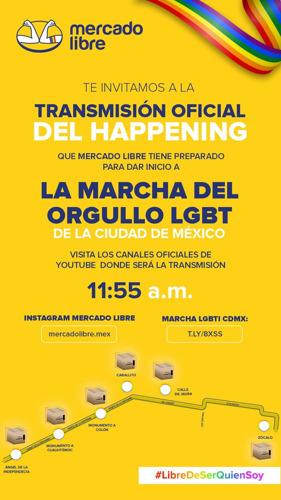 Cajas gigantes de Mercado Libre estallarán con humo de colores en Reforma para dar inicio a la marcha virtual del orgullo LGBTTTI+