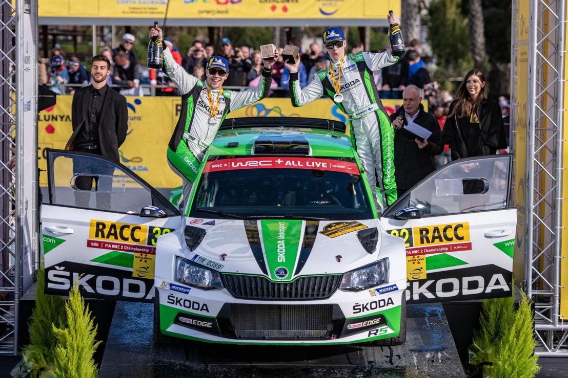 18 years old ŠKODA youngster Kalle Rovanperä and codriver<br/>Jonne Halttunen (ŠKODA FABIA R5) from Finland<br/>won the WRC 2 category at RallyRACC Catalunya