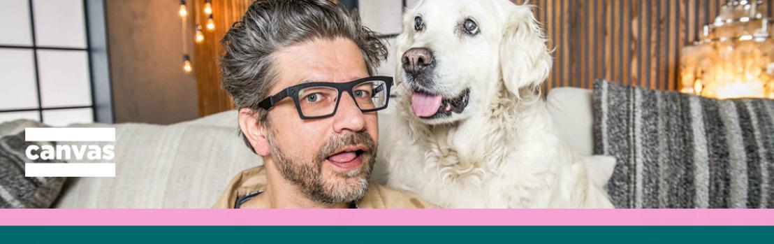 Wim Helsen, een gast, een hond en een tekst