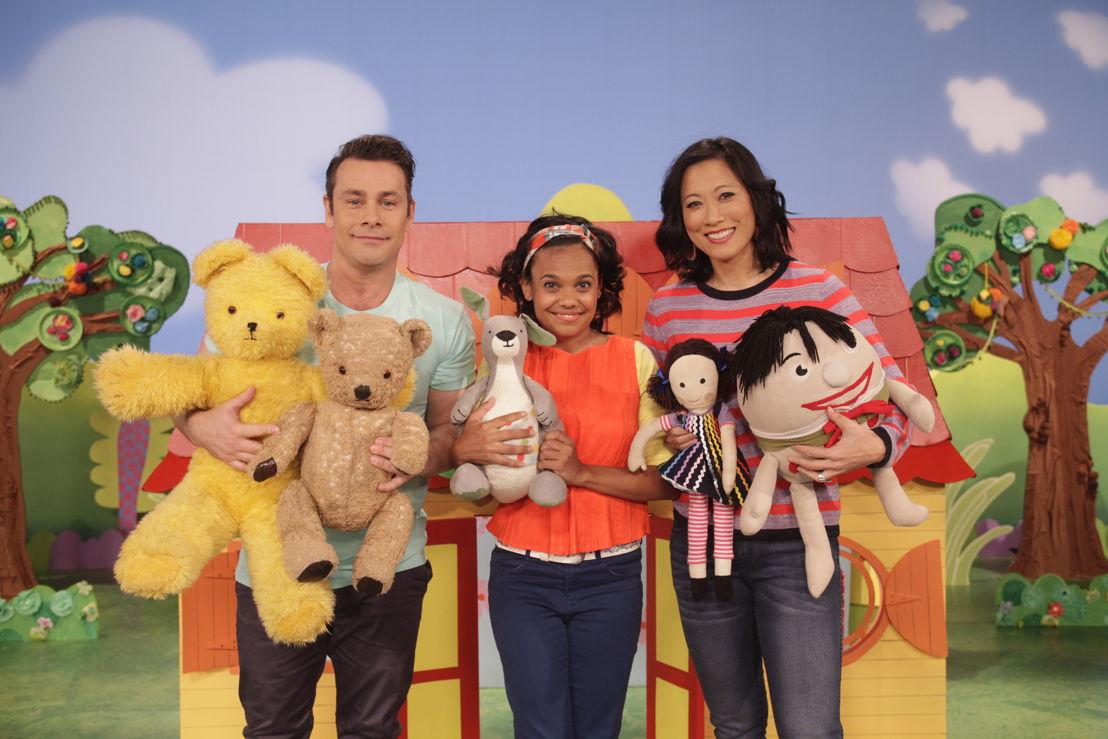 ABC KIDS' Play School presenters Teo Gebert, Miranda Tapsell and Karen Pang with toys