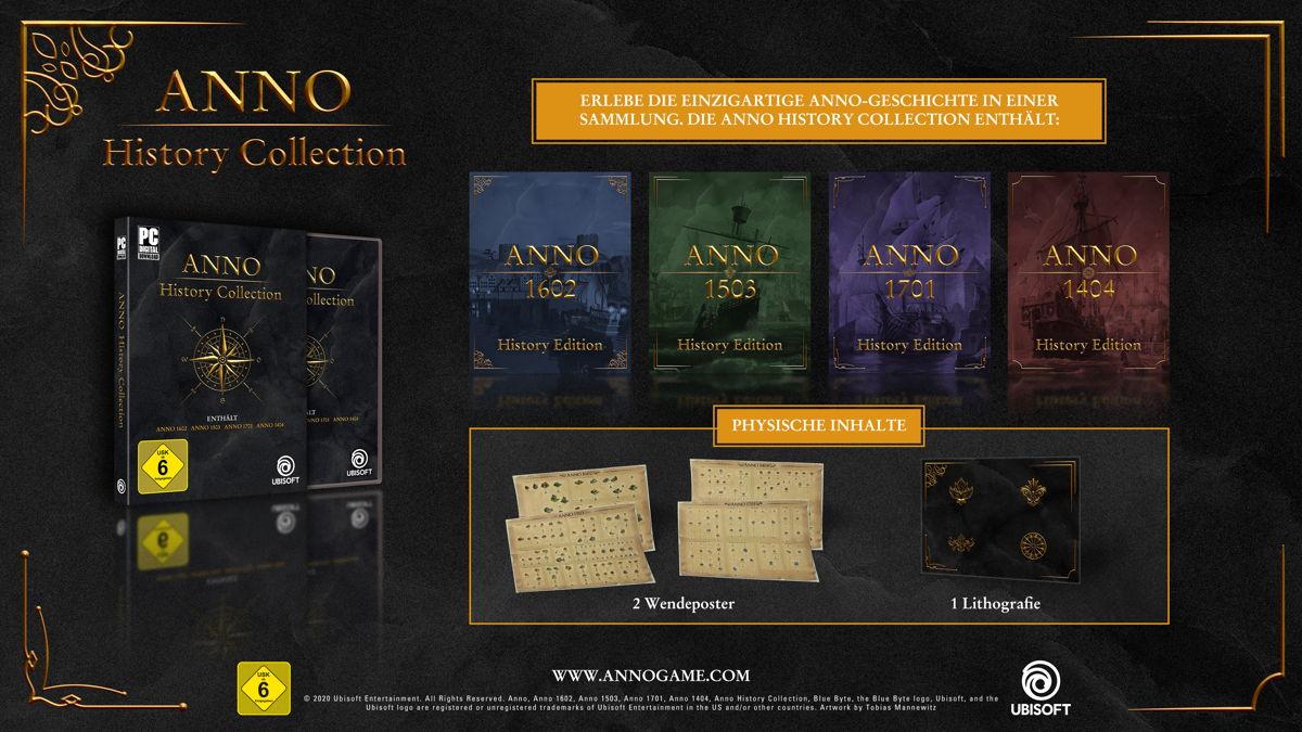 Die Retail-Version der Anno History Collection enthält neben den digitalen Inhalten 2 exklusive doppelseitige Produktionsketten-Poster und eine exklusive Lithographie mit Goldprägung.