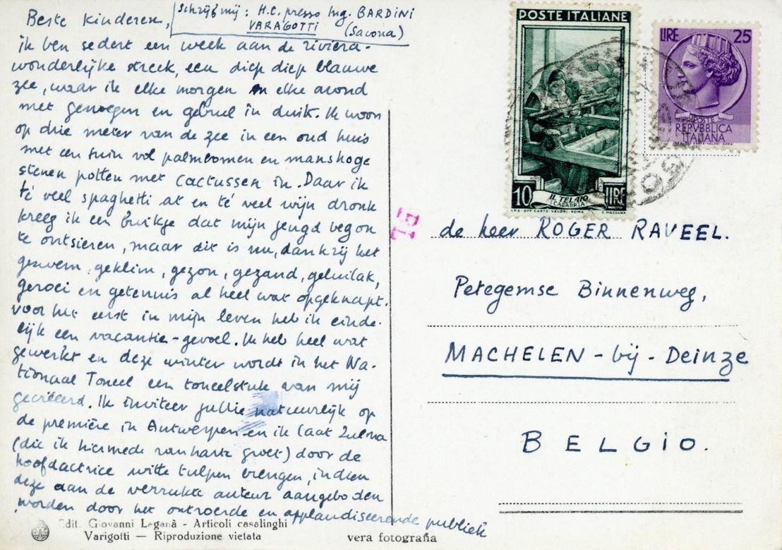 Prentbriefkaart aan Roger en Zulma Raveel, vanuit Varigotti, begin augustus 1953