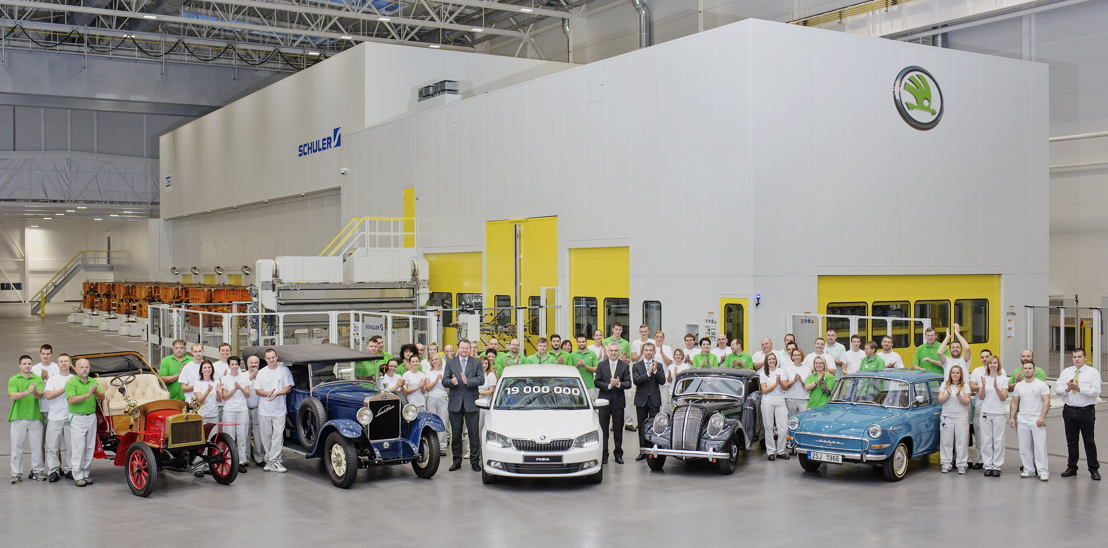 ŠKODA has produced their 19-millionth vehicle since launching car production in 1905. The jubilee car – a ŠKODA Fabia in 'Moon-White' – rolled off the production line at the main ŠKODA plant in Mladá Boleslav.