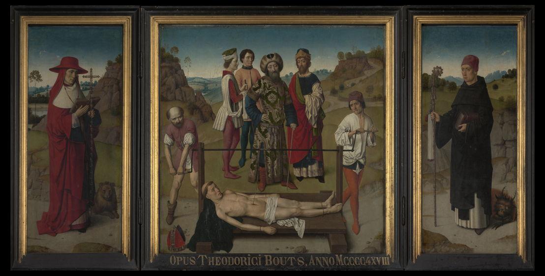 Dieric Bouts. Triptiek met de heilige Erasmus, voor 1465.<br/>(c)  www.lukasweb.be - Art in Flanders, foto (c) Dominique Provost