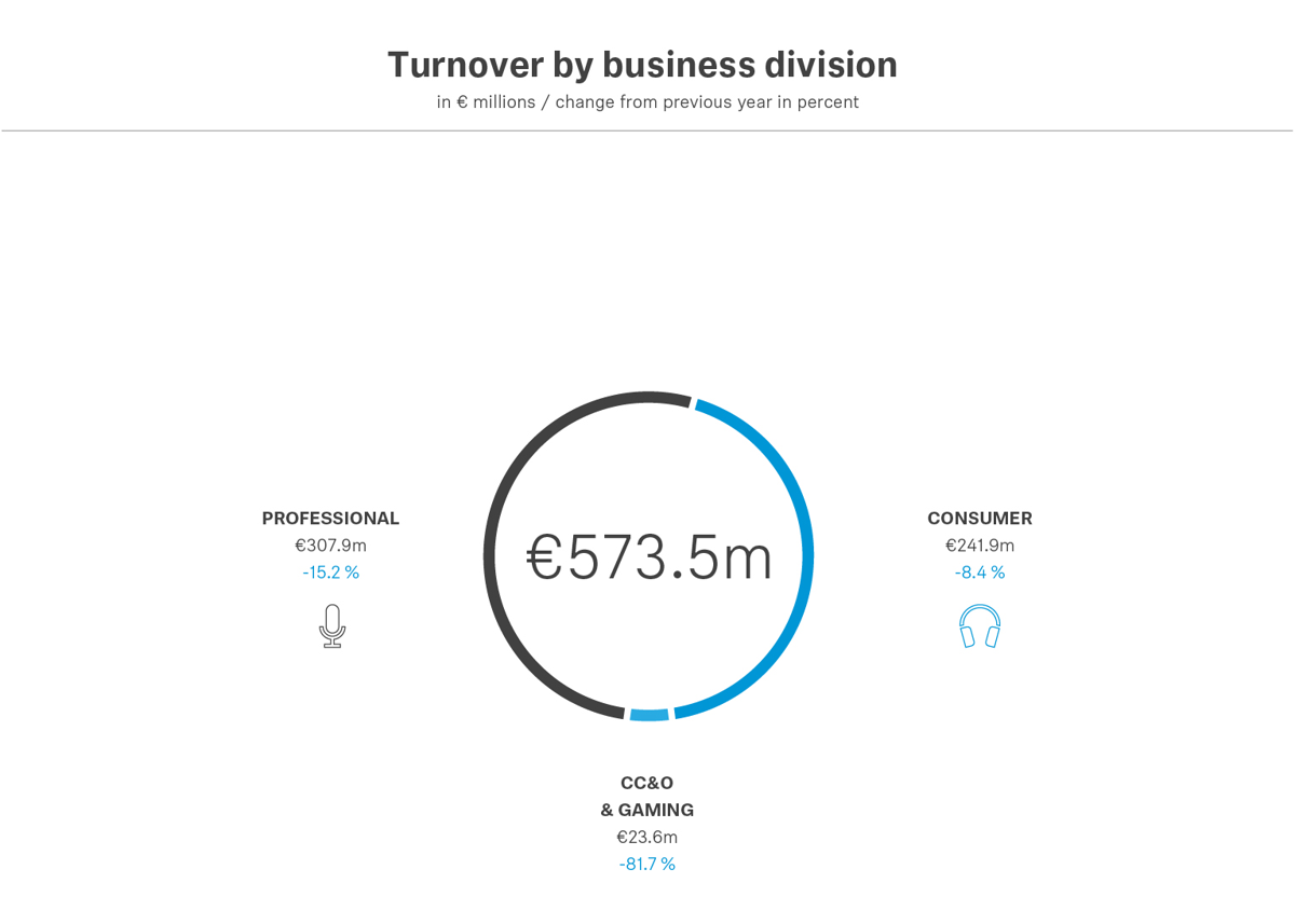 Divided by divisions, the turnover of the Professional Division amounted to €307.9 million, while the Consumer Division generated an operating turnover of 241.9 million*. [adjusted by effects from the demerger with William Demant].