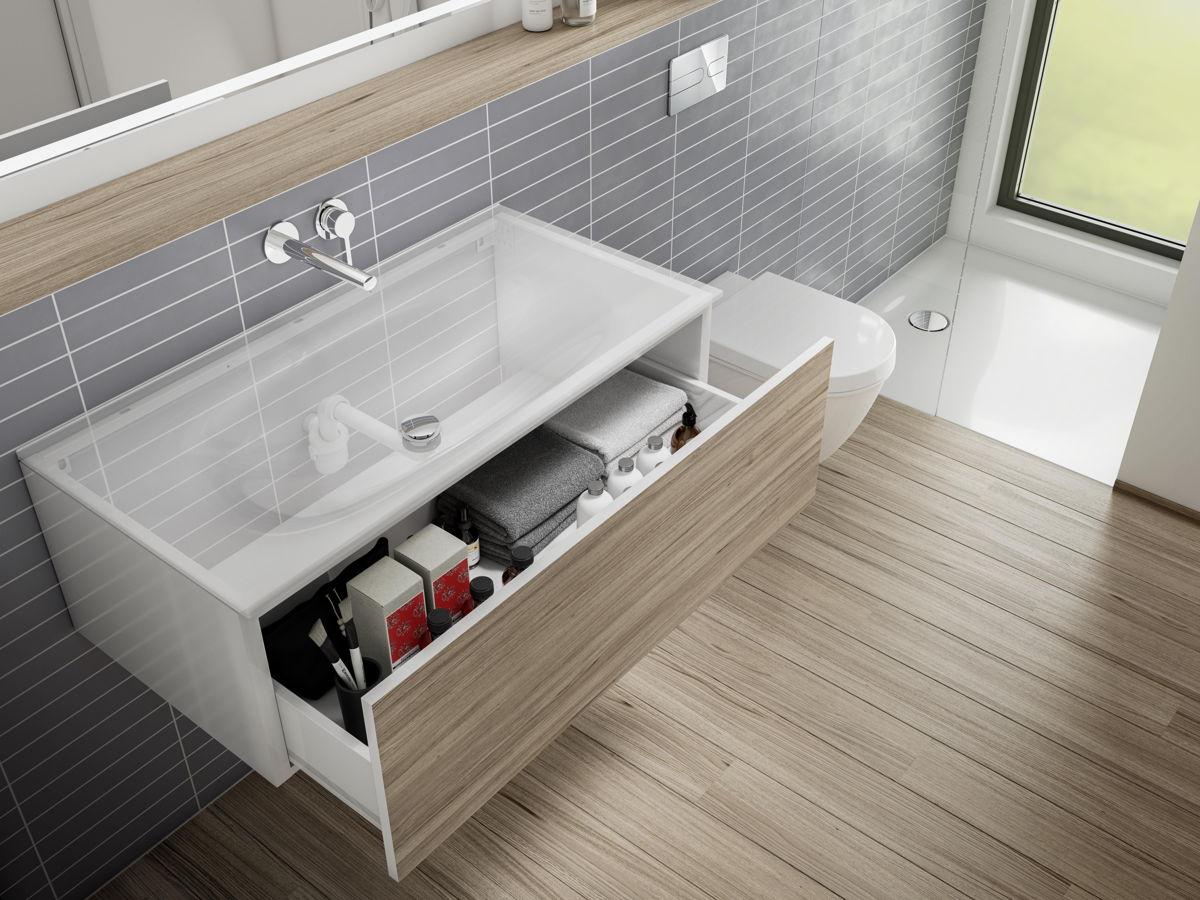 Il existe des meubles de salle de bains et des lavabos pour tous les goûts et toutes les configurations. Le nouveau siphon à faible encombrement de Viega assure une évacuation hautement fonctionnelle, même dans les espaces exigus.