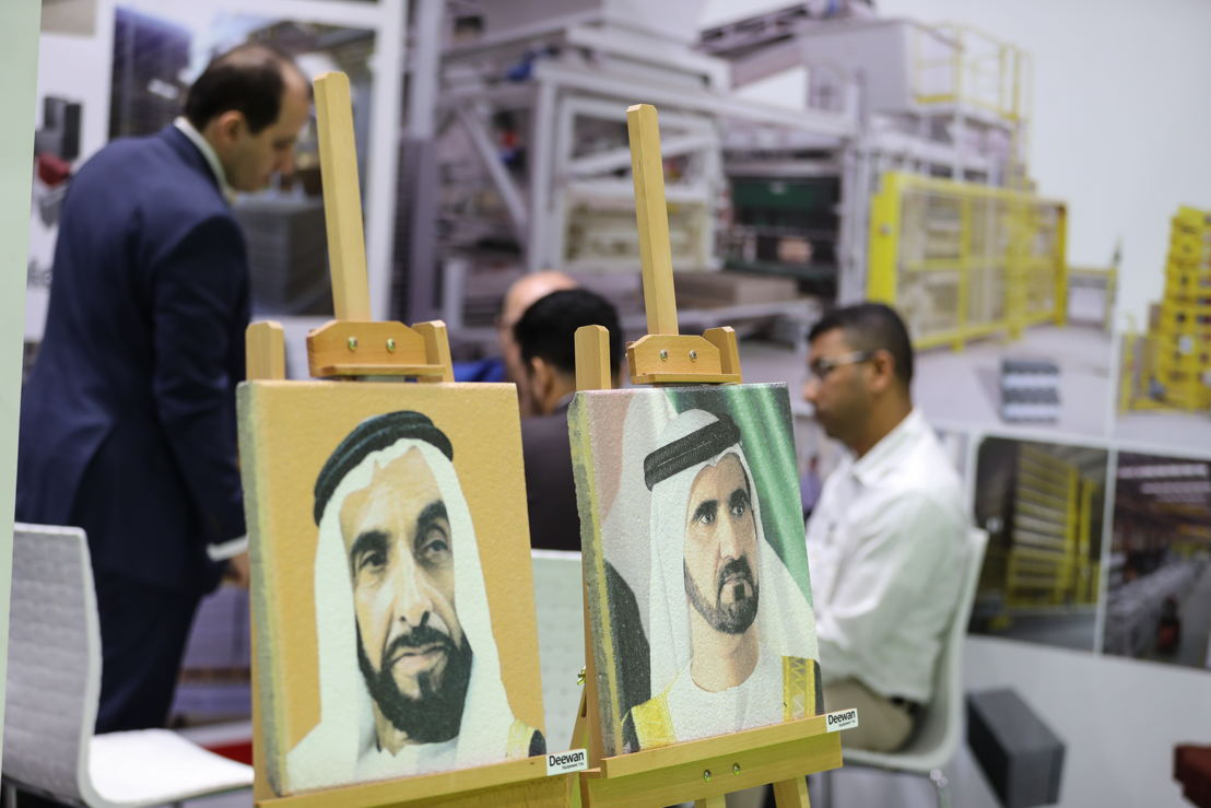 Portraits of Sheikh Zayed bin Sultan Al Nahyan and Sheikh Mohammed bin Rashid Al Maktoum printed on concrete were presented by Deewan Equipment exhibitor