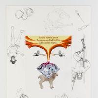 Het mystieke contract (2017)<br/>Uit de reeks collagetekeningen ter voorbereiding van Jan Fabres permanente installatie in de Sint-Augustinuskerk/AMUZ <br/>Potlood en collagetechniek<br/>60 x 42,2 cm