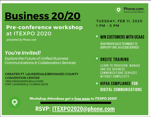 "Phone.com to Host ""Business 2020,"" a Pre-conference Workshop at ITEXPO 2020"