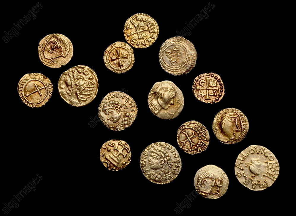 Complete non-local Anglo-Saxon Coin Hoard (The Crondall Hoard), 7th century. Artist: Unknown.<br/>AKG5845959