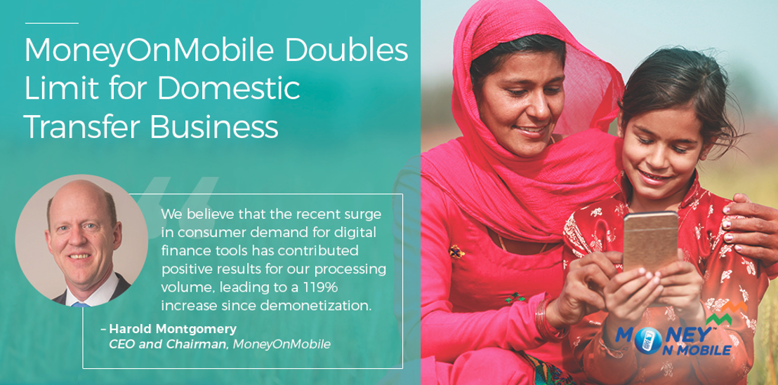 MoneyOnMobile Doubles Limit for Domestic Transfer Business