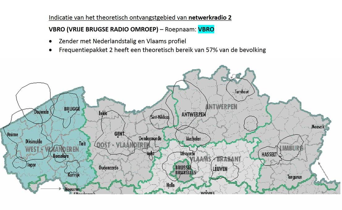 Indicatie van het theoretisch ontvangstgebied van netwerkradio 2