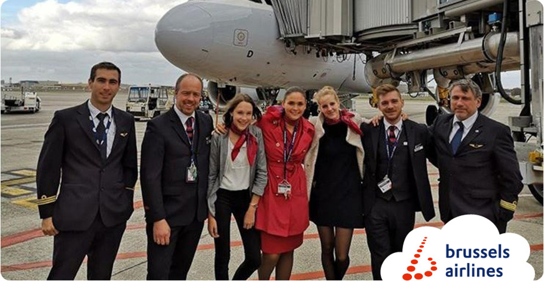 Brussels Airlines laat studenten voor een dag proeven van de luchtvaart voor Youca Action Day