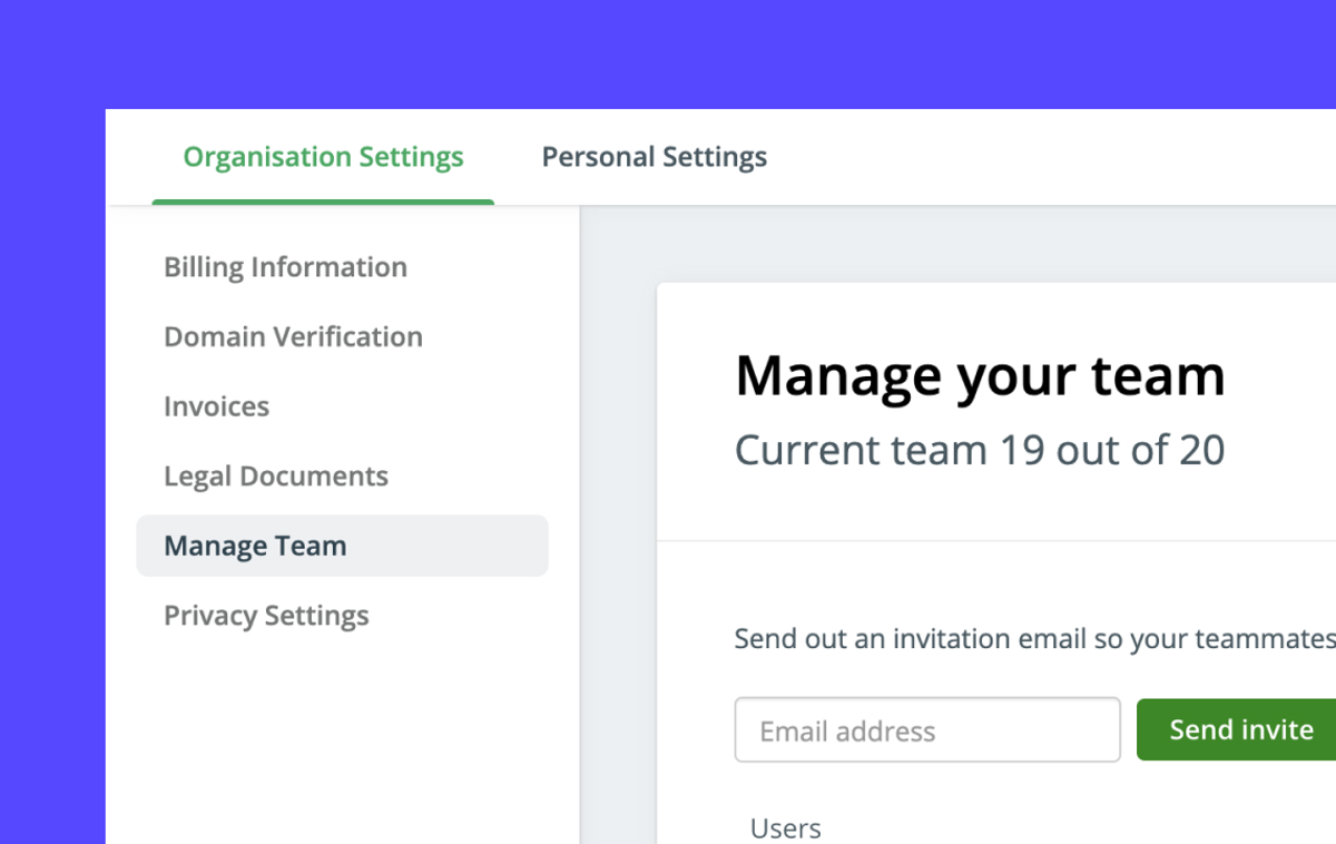 Invite and manage team members