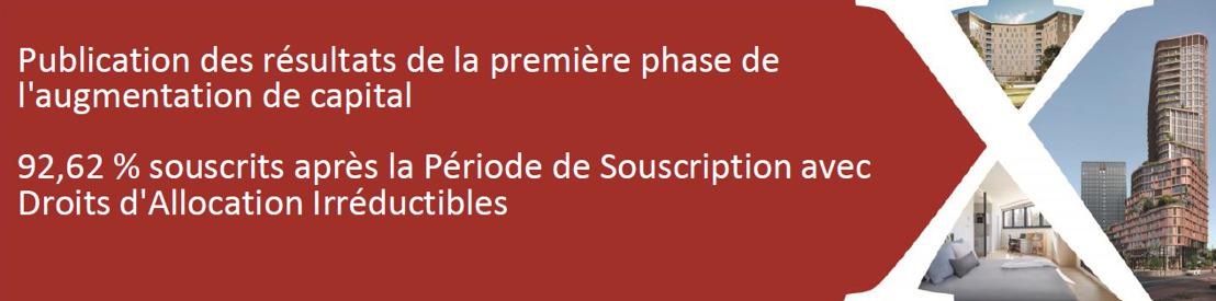 Publication des résultats de la première phase de l'augmentation de capital. 92,62 % souscrits après la Période de Souscription avec Droits d'Allocation Irréductibles.