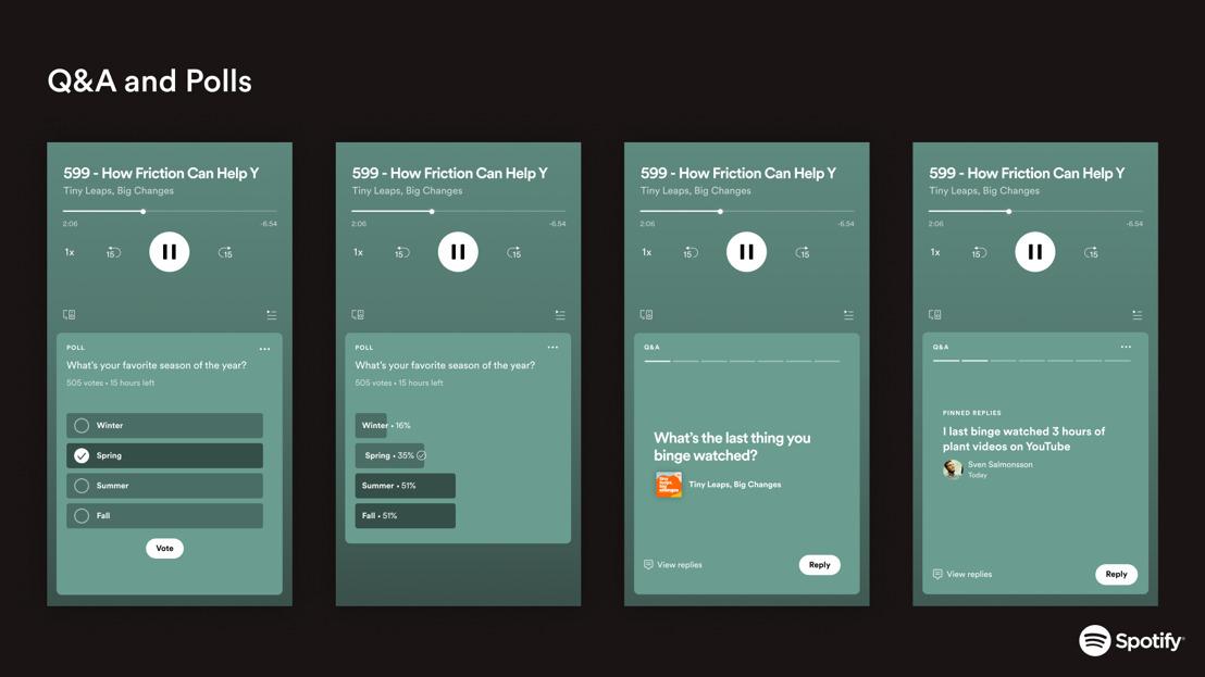 Spotify lance deux nouvelles fonctionnalités interactives pour les podcasts: les Q&A et les sondages