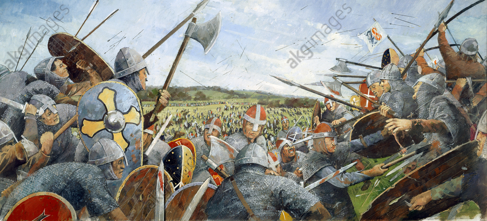 Battle of Hastings, 1066, (c1990-2010). Reconstruction drawing of the battle scene with soldiers at Battle Abbey, East Sussex. <br/>AKG5735367