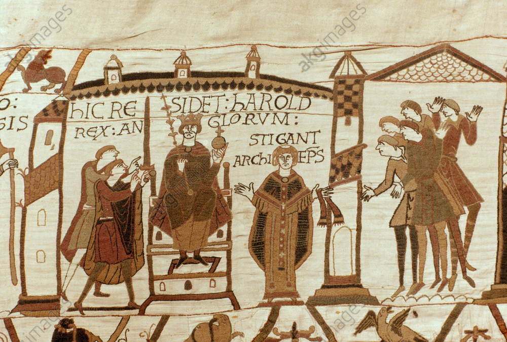 Bayeux Tapestry, late 11th century.<br/>(Embroidery on linen, 70m long x 50cm cm wide; depiction of the Norman Conquest of England 1064–66).<br/><br/>Harolds is crowend to be the King of England.<br/>Bayeux, Musée de la Tapisserie.<br/>AKG29430