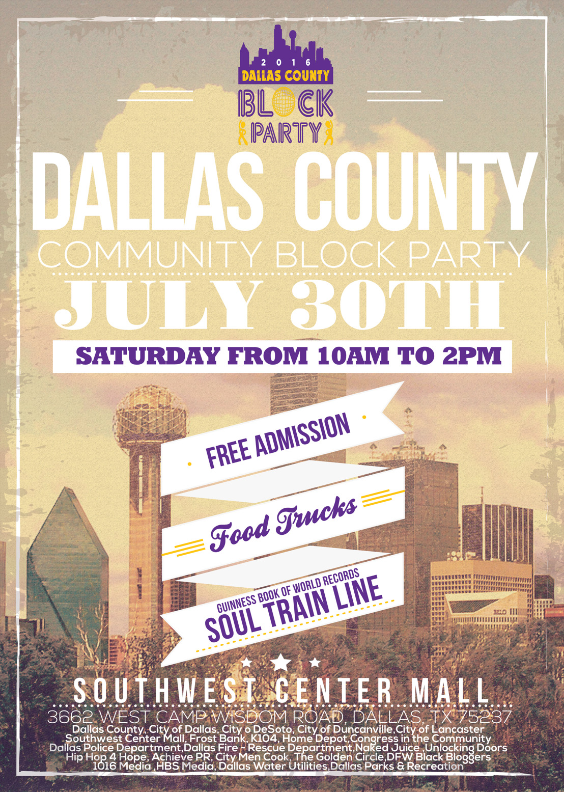 Dallas County Community Block Party and Record Breaking Soul Train Line