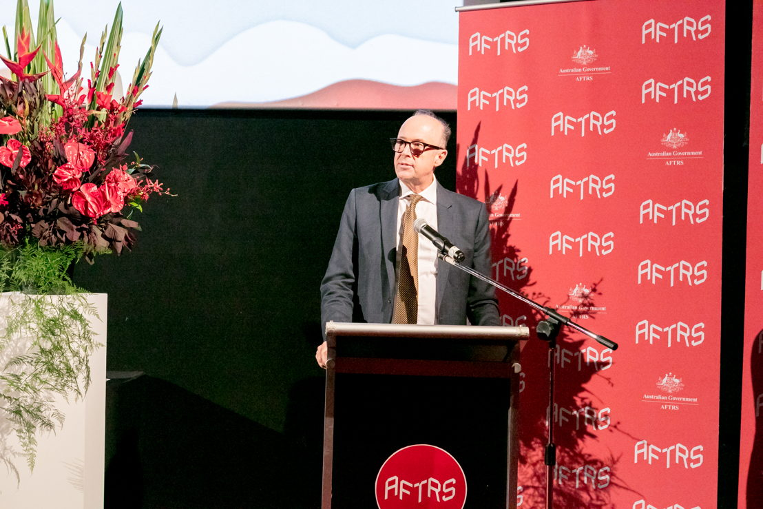 ABC Director of Radio Michael Mason announcing the scholarship at AFTRS