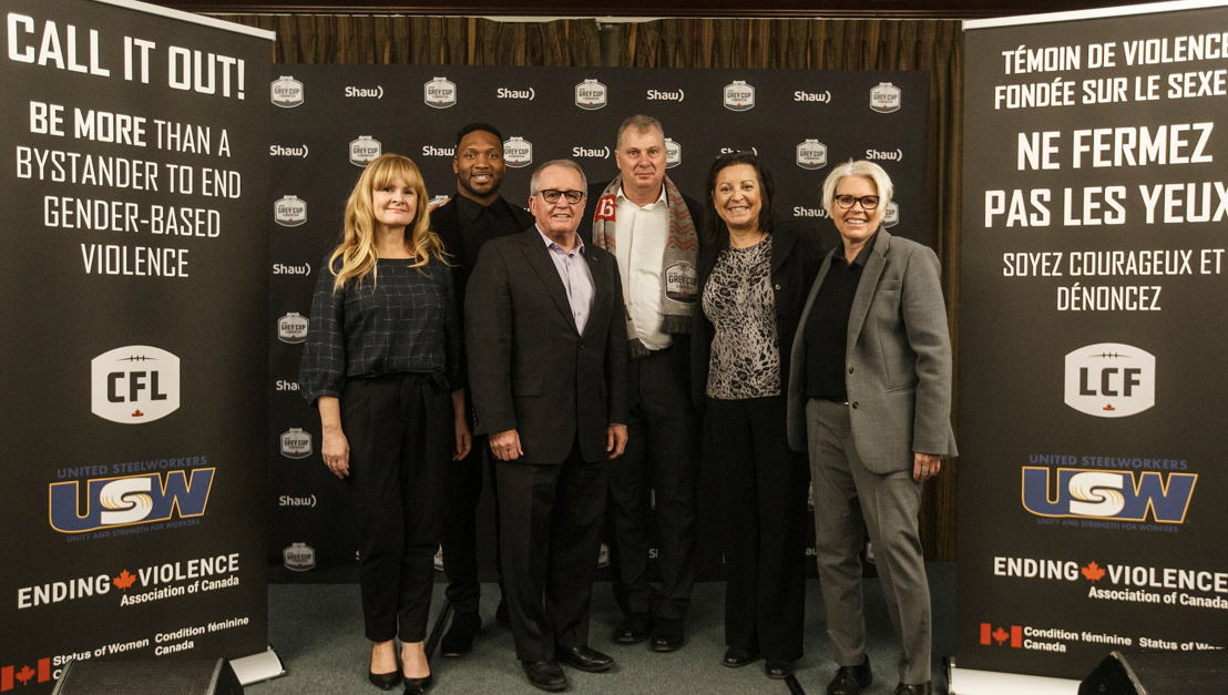 The speakers from today's CFL 'Be More Than A Bystander' press conference. Photo credit: Jason Franson/CFL.ca