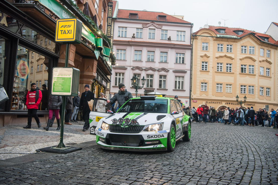 Czech Rally Champion Jan Kopecký answered to calls for a taxi, showing up in a 290 bhp ŠKODA FABIA R5 rally car.