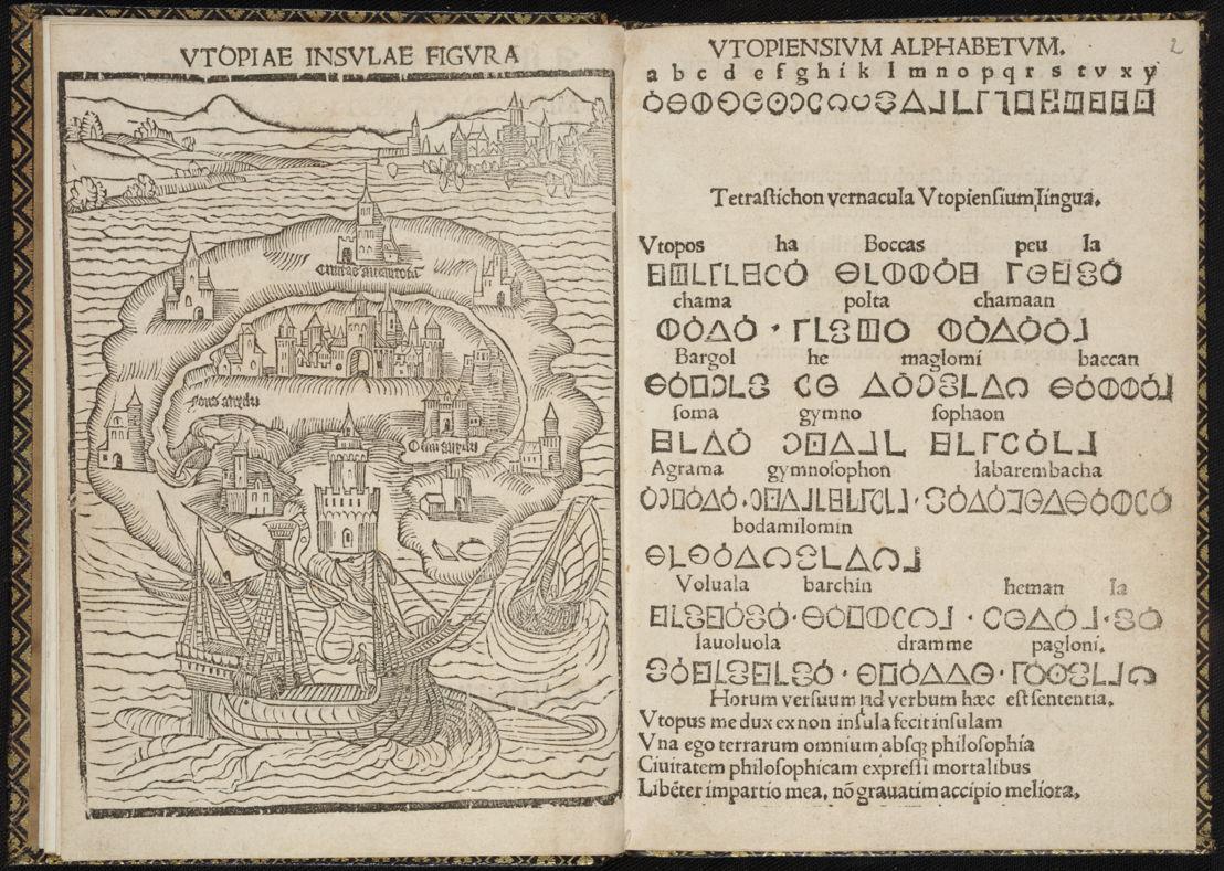 'Auf der Suche nach Utopia' ©  Thomas Morus, Libellus de… insula Utopia, 1518. Universitätbibliothek – Tabularium, Leuven.