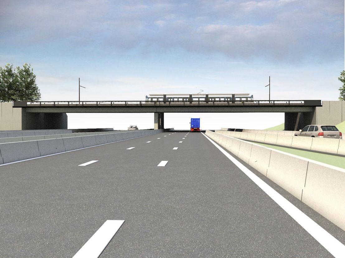 Toekomstbeeld 1 van de trambrug over de E40 in Zwijnaarde.