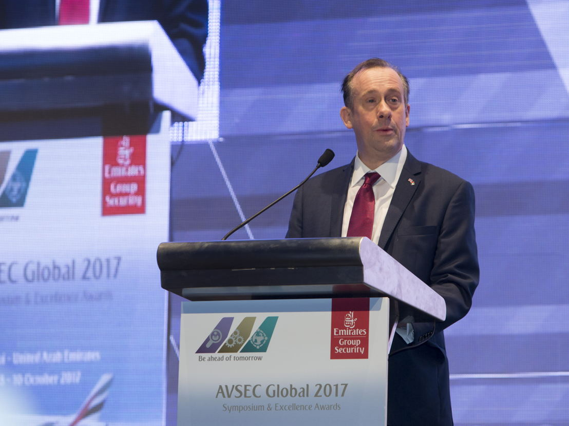 Lord Callanan, UK Minister for aviation delivering the keynote address at AVSEC Global 2017