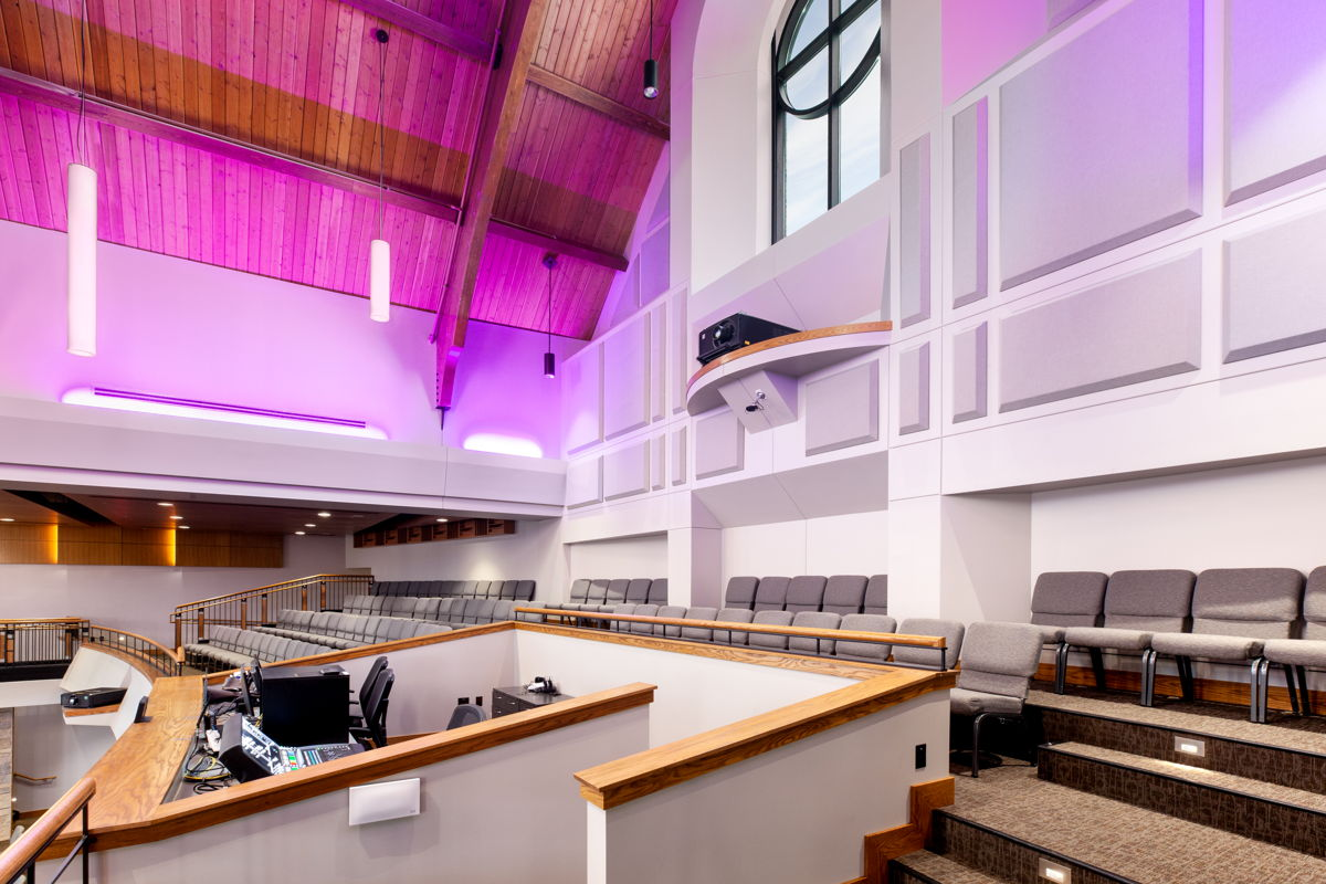 First Lutheran Celebration Center balcony and live mixing board