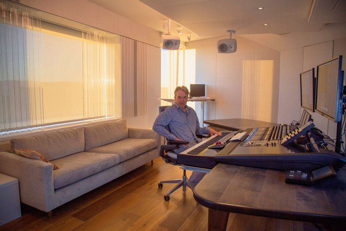 Film score composer Carter Burwell at the composing / mixing position in his 'The Body' Studio