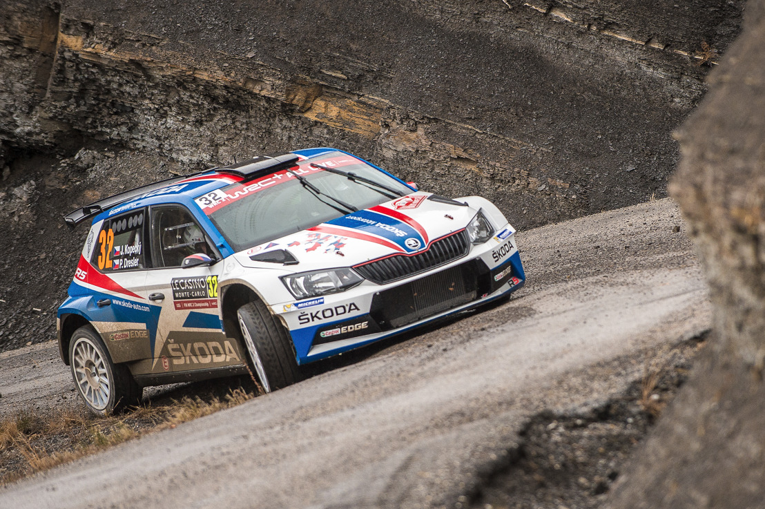 Rally Monte-Carlo: ŠKODA FABIA R5 driver Jan Kopecký clearly leads WRC 2 category