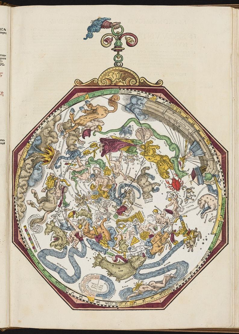 Carte du ciel, Michael Ostendorfer, dans Petrus Apianus, Astronomicum Caesarum, 1540, Bibliothèque royale de Belgique, Réserve précieuse, VB 5123 C.