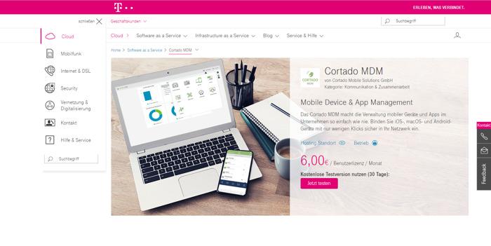 Preview: Die Lösungen Cortado MDM und Cortado Workplace sind im TelekomCLOUD Portal für Geschäftskunden erhältlich