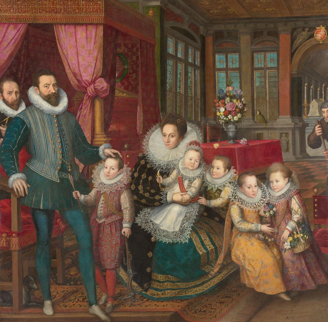 Anonyme, Portrait de famille de Charles d'Arenberg et Anne de Croÿ, vers 1593. KU Leuven, Patrimoine artistique © KU Leuven - Bruno vandermeulen