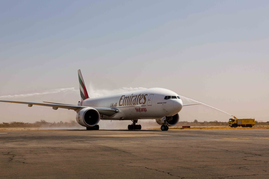 Emirates SkyCargo flight EK9708 receives a traditional water cannon welcome after arriving at Ouagadougou in Burkinao Faso.