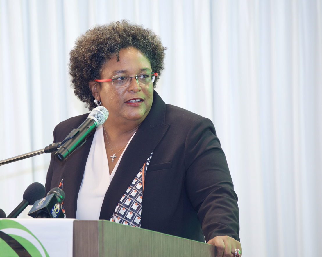Prime Minister of Barbados and specially invited guest of the OECS Authority, Hon. Mia Mottley, delivers remarks at the Opening Ceremony of the 65th OECS Authority Meeting.