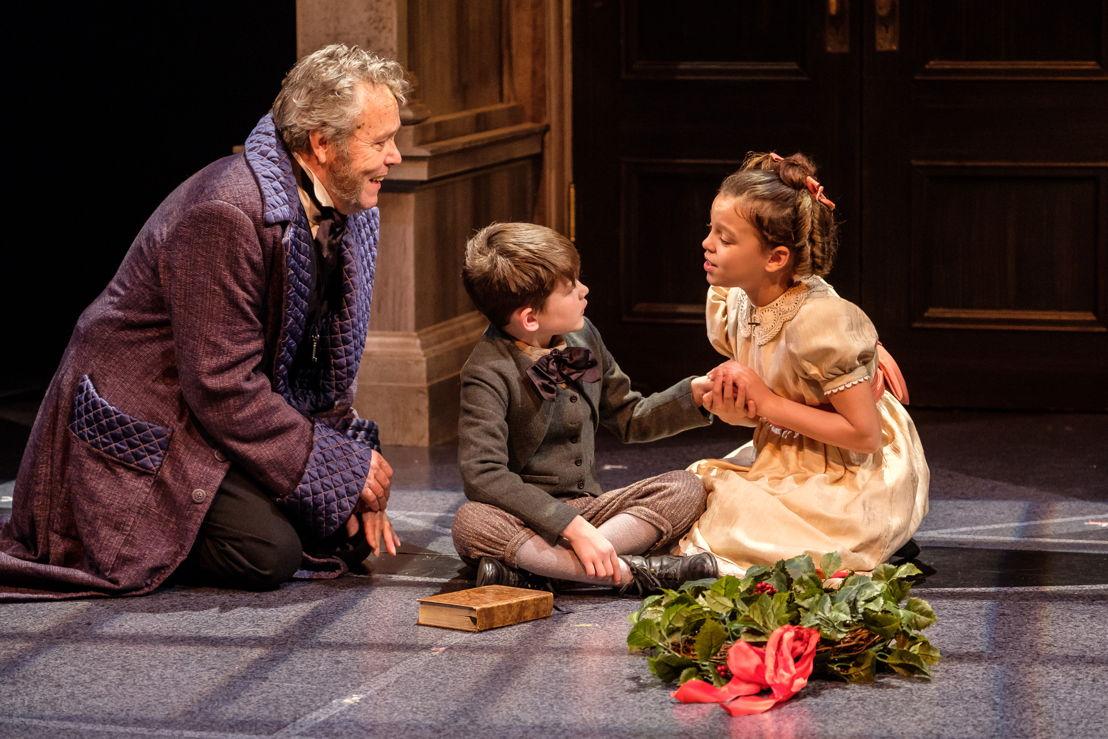 Tom McBeath (Ebenezer Scrooge), Jude Culham-Keays (Young Ebenezer) and Azura Lepard (Fan) in A Christmas Carol / Photos by Don Craig