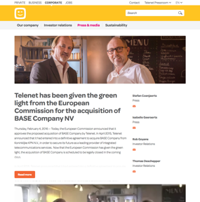 Telenet has been given the green light from the European Commission for the acquisition of BASE Company NV