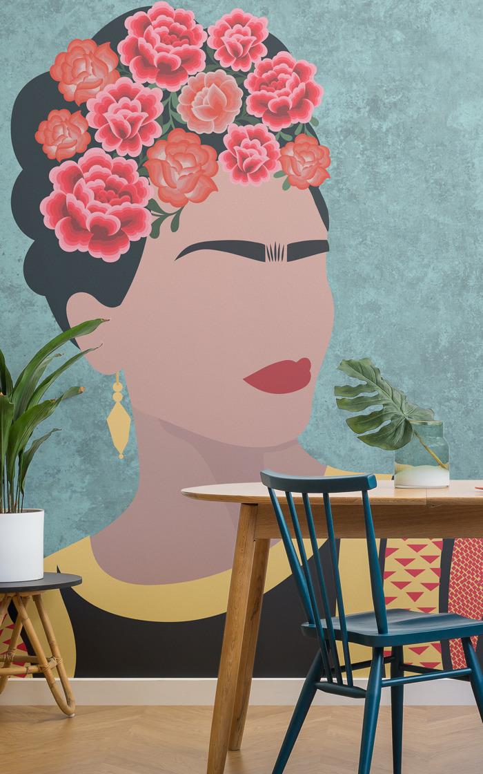 Papel pintado floral inspirado en las tendencias mexicanas y en Frida Kahlo