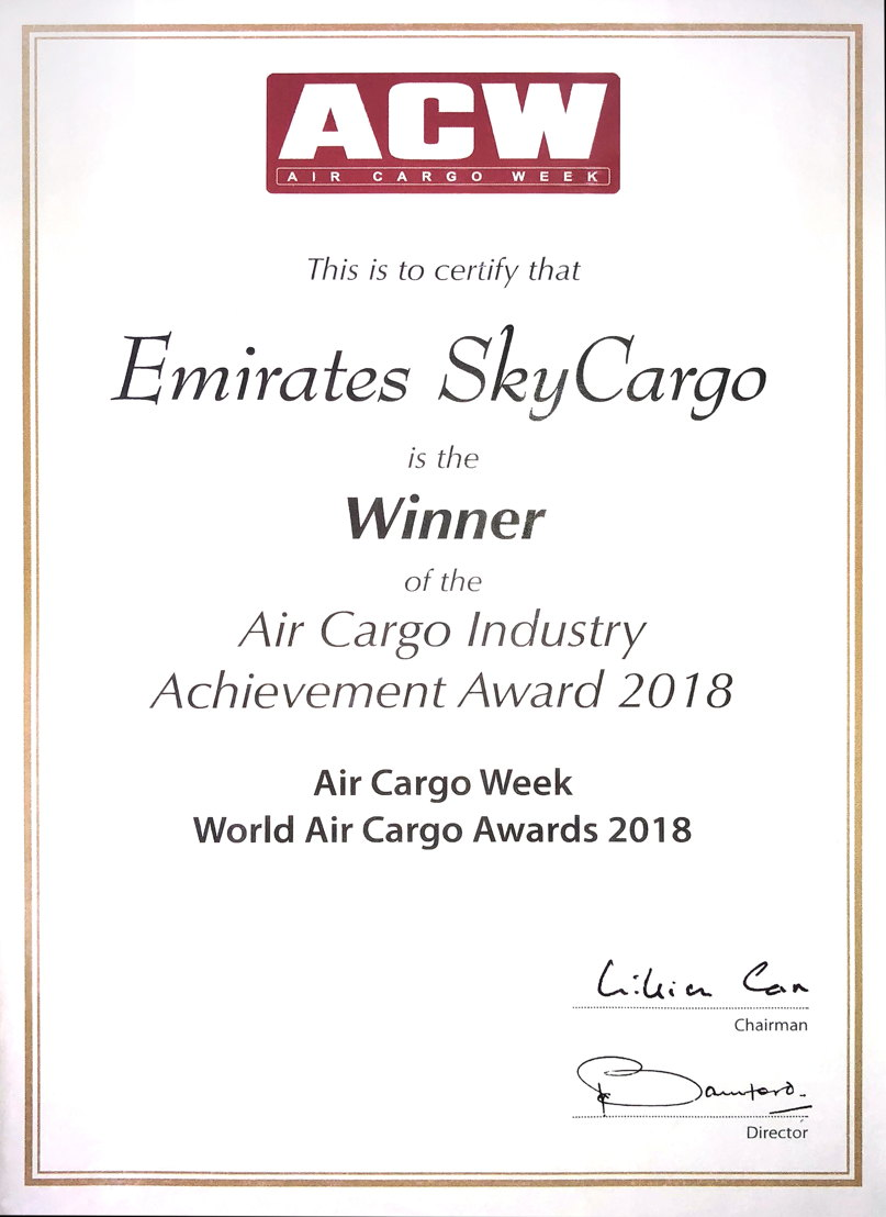 Emirates SkyCargo was awarded the Air Cargo Industry Achievement Award at the World Air Cargo Awards 2018 organised by Air Cargo Week in Shanghai.