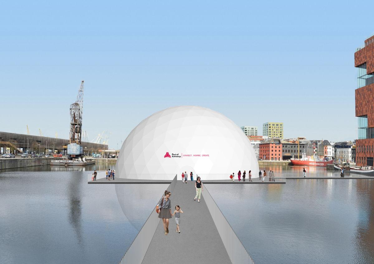 Bezoek het indrukwekkende drijvende paviljoen van de haven van Antwerpen