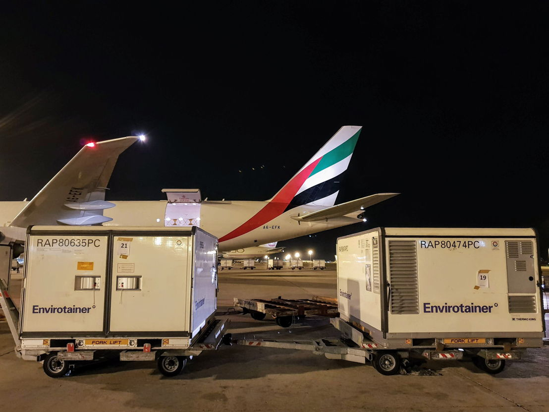 Emirates SkyCargo transported the vaccines from Milan, one of the designated airports in Emirates SkyCargo's pharma corridor programme