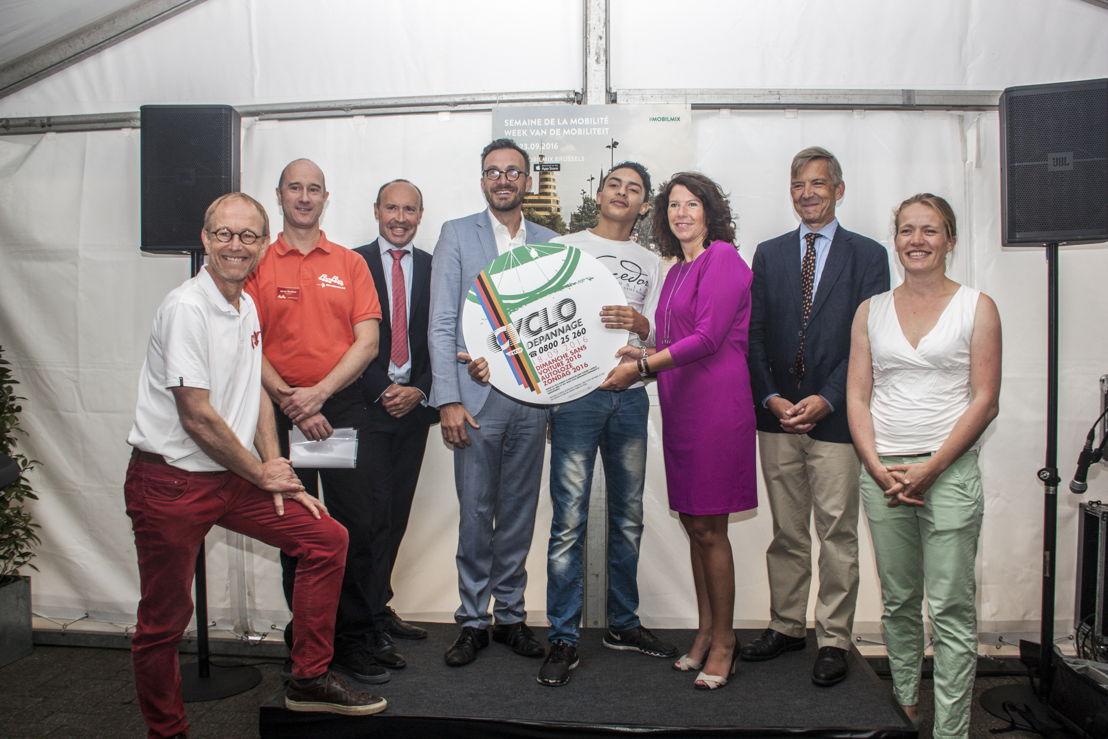 Pascal Smet, Bianca Debaets & ambassadeurs van de week van de mobiliteit