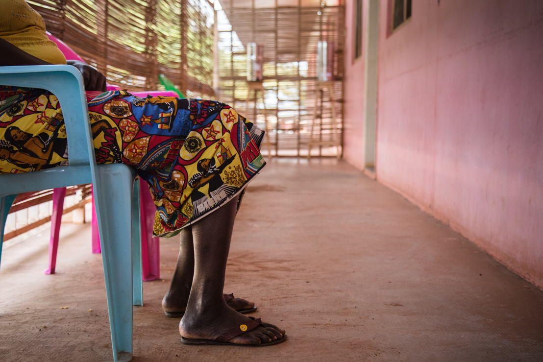 Tatiana was held imprisoned by armed men in her hometown of Bambari after her husband was killed. She was raped over the course of several days until she was able to flee to Bangui. She has been receiving treatment at the clinic for 3 months. Photographer: MSF/Olivia Watson