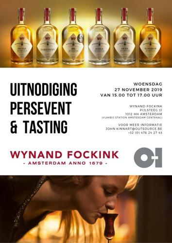 O-I & Wynand Fockink : Uitnodiging persevent en tasting (27/11/2019 in Amsterdam)