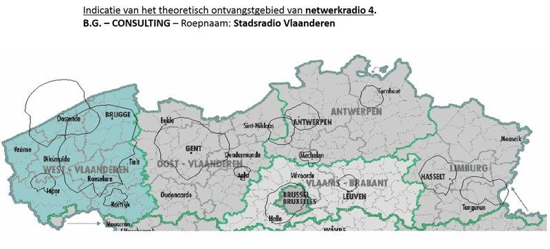 Indicatie van het theoretisch ontvangstgebied van netwerkradio 4