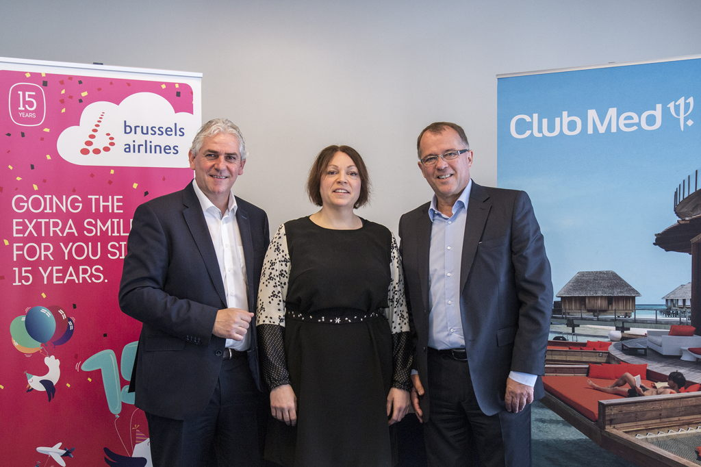 Frédéric Dechamps (VP Sales Benelux Brussels Airlines), Christina Foerster (Chief Commercial Officer Brussels Airlines)  en Eric Georges (Managing Director Club Med Benelux)