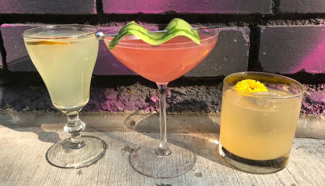 Rocky Ford Melon cocktail flight featuring The Family Jones spirits